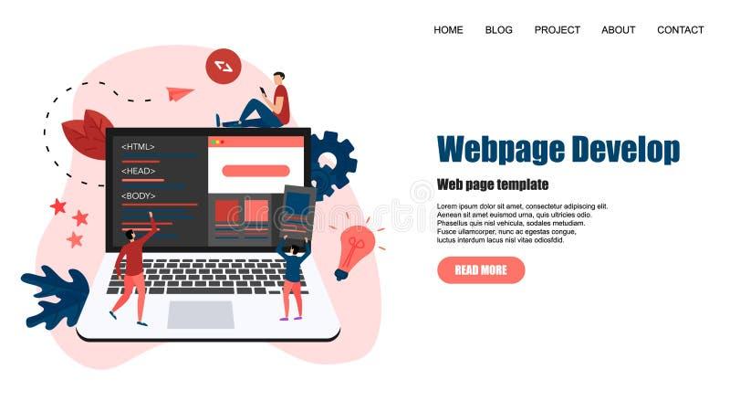 Шаблон Веб-страницы Творческие развитие Веб-страницы и конструктивная схема веб-дизайна бесплатная иллюстрация