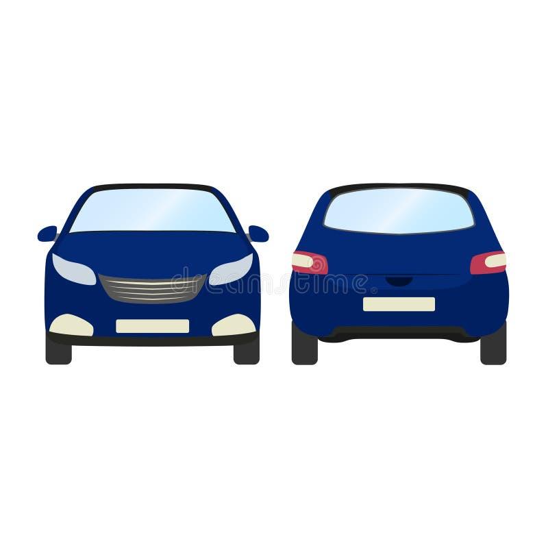 Шаблон вектора автомобиля на белой предпосылке Изолированный хэтчбек дела стиль голубого хэтчбека плоский Передний и задний взгля иллюстрация штока