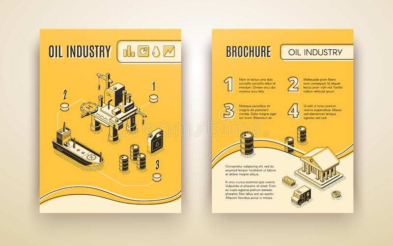 Шаблон вектора брошюры компании нефтедобывающей промышленности иллюстрация штока