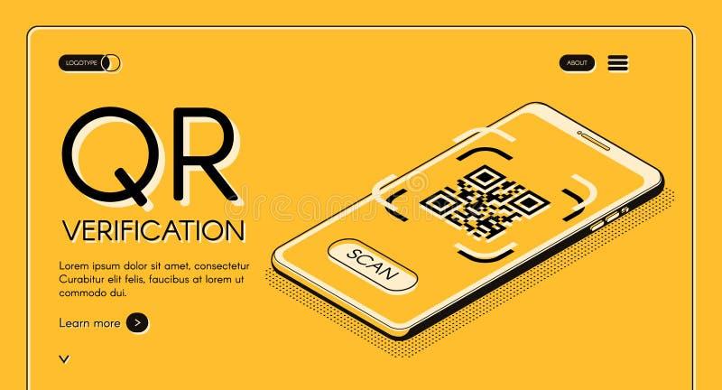 Шаблон вектора вебсайта приложения проверки кода QR иллюстрация штока