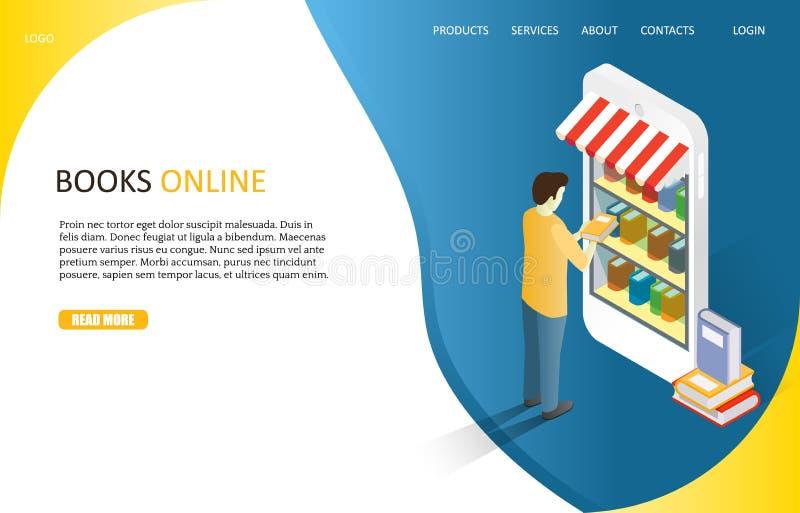 Шаблон вектора вебсайта страницы книг онлайн приземляясь иллюстрация штока