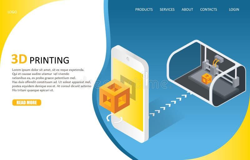 шаблон вектора вебсайта страницы процесса печати 3D приземляясь иллюстрация штока