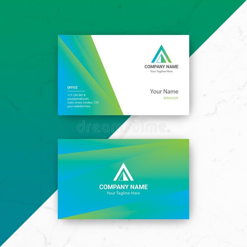 Шаблон вектора визитной карточки голубого зеленого цвета стоковые фото