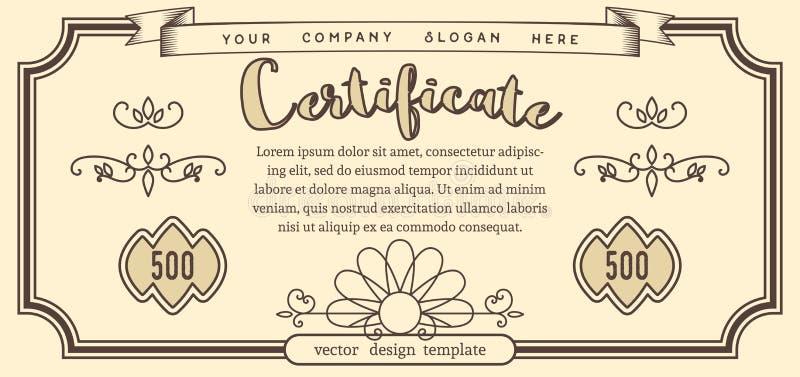 Шаблон вектора винтажного сертификата иллюстрация штока
