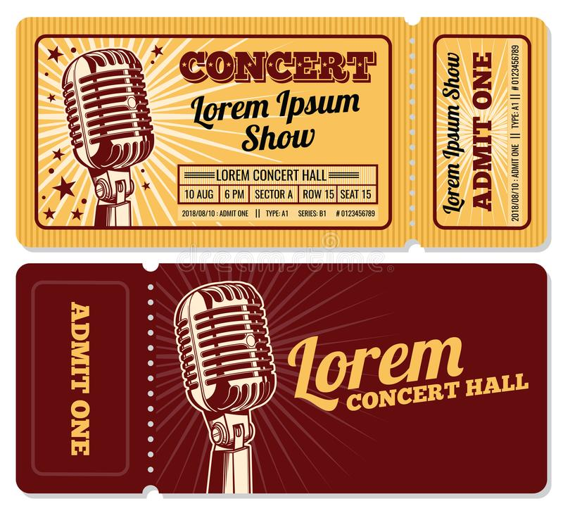 Шаблон вектора входа допущения билета события или концерта бесплатная иллюстрация