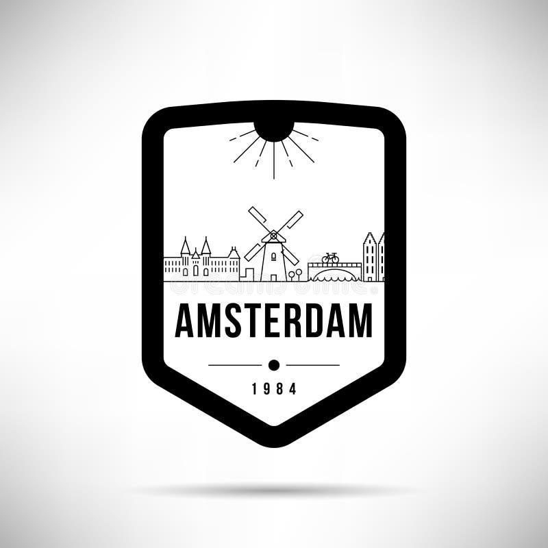 Шаблон вектора горизонта города Амстердама современный иллюстрация вектора