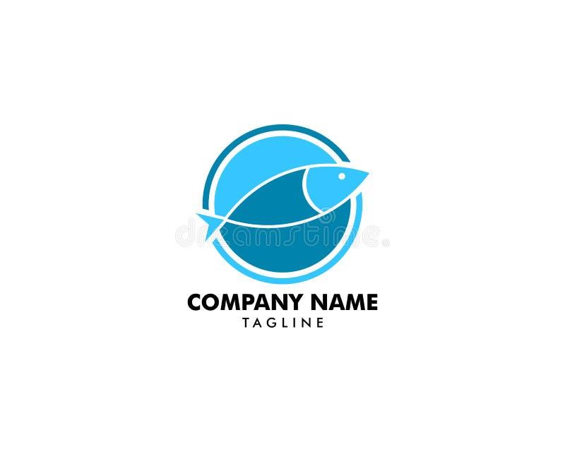 Шаблон вектора дизайна конспекта логотипа рыб, значок концепции логотипа ресторана магазина магазина морепродуктов иллюстрация вектора