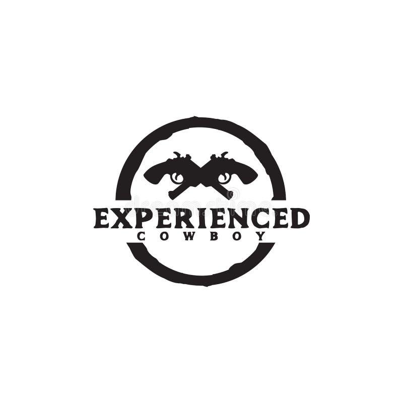 Шаблон вектора дизайна логотипа ковбоя с использованием пересеченного дизайна значка revolper иллюстрация штока