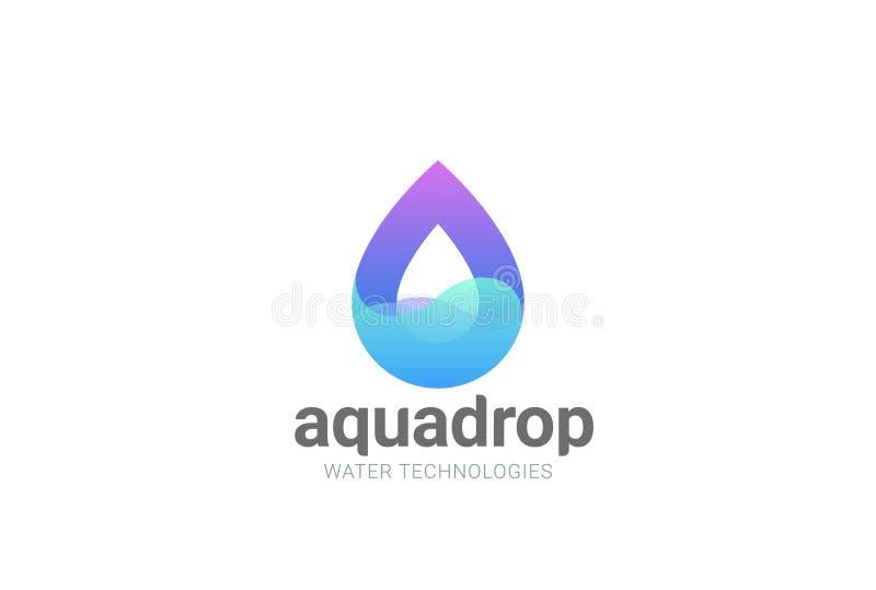 Шаблон вектора дизайна логотипа конспекта капельки воды Естественный минеральный логотип КУРОРТА косметик Waterdrop Aqua Значок в иллюстрация штока