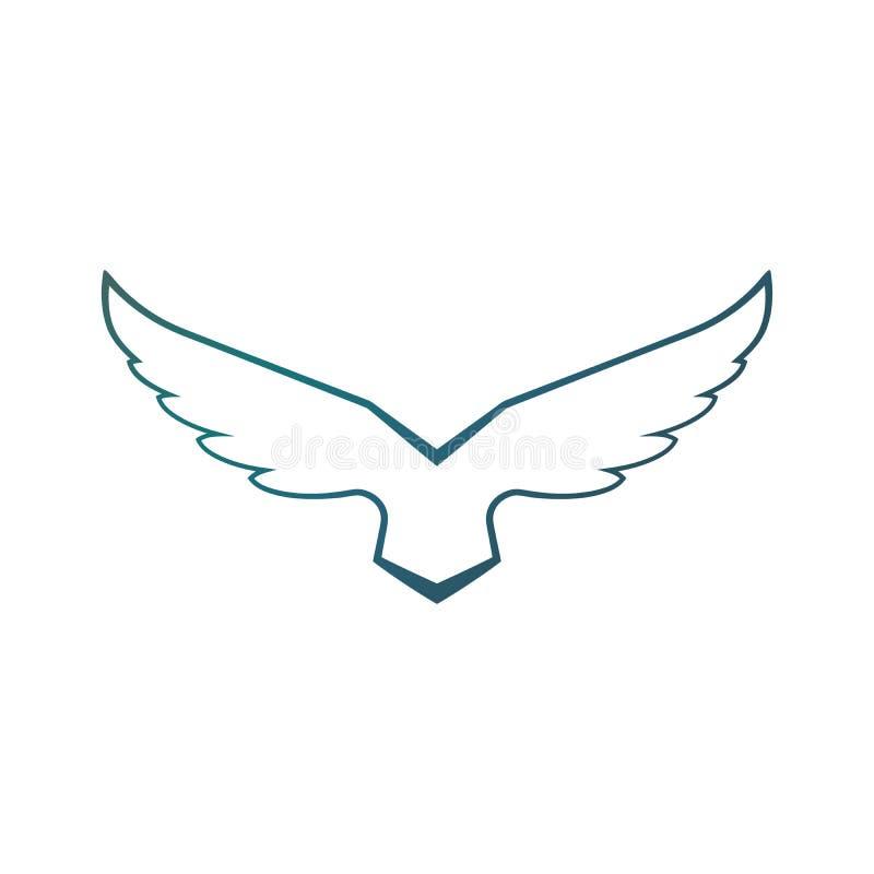 Шаблон вектора дизайна логотипа крыльев сокола парящий поднимая Роскошная корпоративная heraldic птица летая ястреба Феникса орла иллюстрация вектора