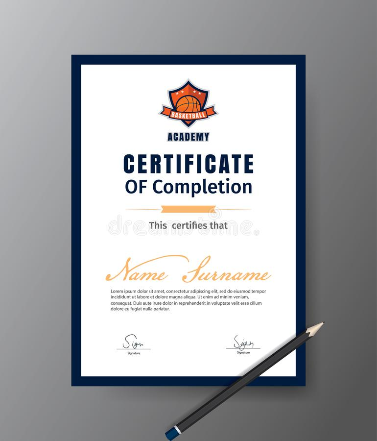 Шаблон вектора для сертификата курса подготовки баскетбола иллюстрация штока