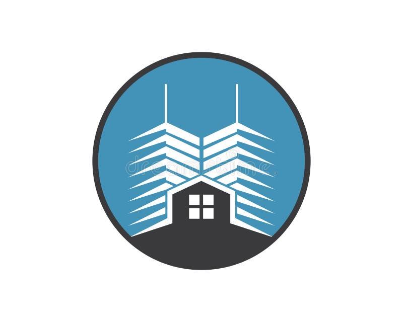 шаблон вектора здания города недвижимости современный иллюстрация вектора