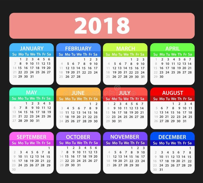 Шаблон вектора календаря года 2018, иллюстрация запаса бесплатная иллюстрация