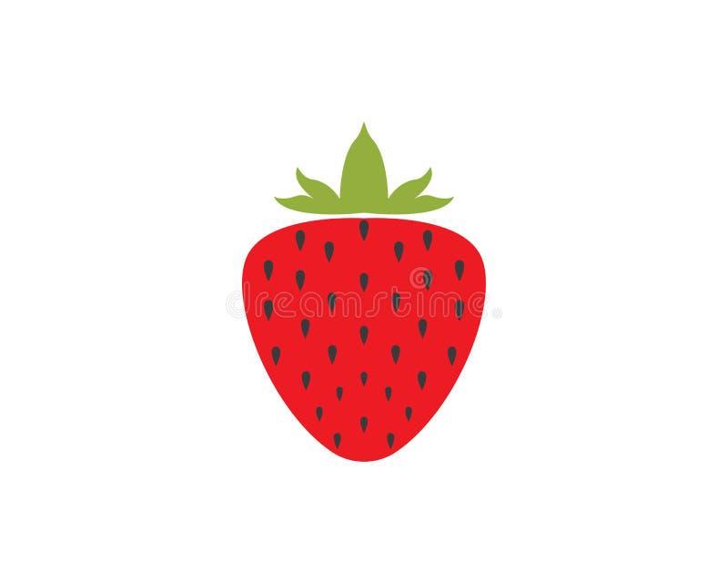 шаблон вектора логотипа плодоовощ клубники иллюстрация вектора