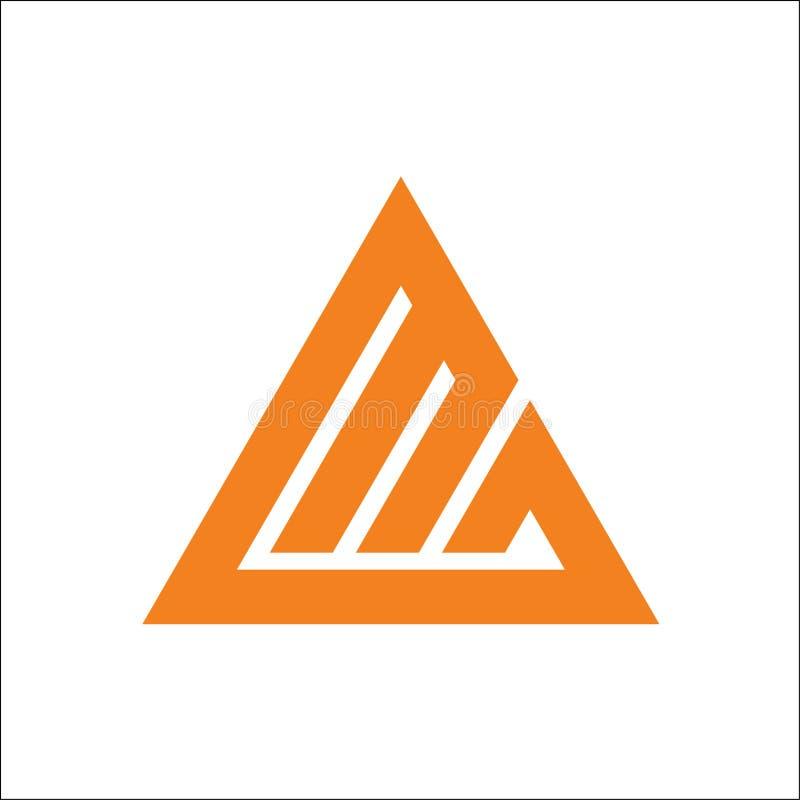 Шаблон вектора логотипа треугольника MG инициалов иллюстрация вектора