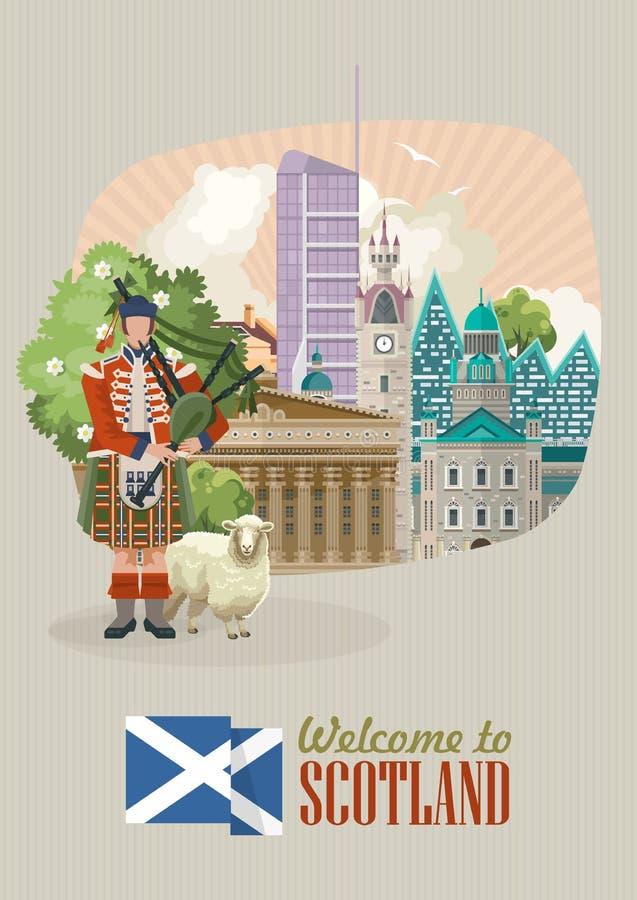 Шаблон вектора перемещения Шотландии в современном дизайне Шотландские ландшафты бесплатная иллюстрация
