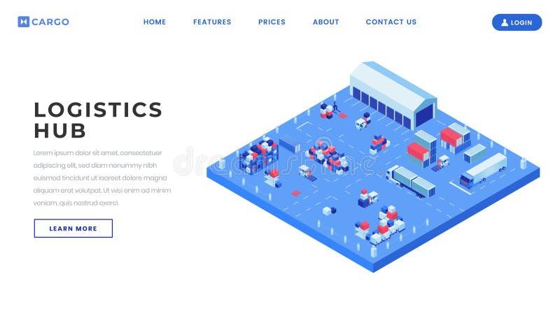 Шаблон вектора страницы двора контейнера приземляясь Грузя идея интерфейса домашней страницы вебсайта снабжения разбивочная с рав бесплатная иллюстрация