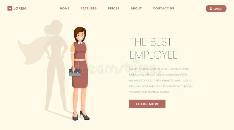 Шаблон вектора страницы самого лучшего работника плоский приземляясь Супер специалист, работник, вебсайт победы менеджера, Веб-ст иллюстрация штока
