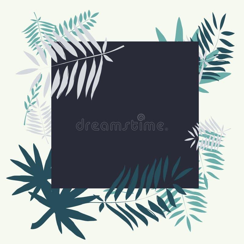 Шаблон вектора с тропическими листьями Выходит иллюстрация пальмы Современные графики бесплатная иллюстрация