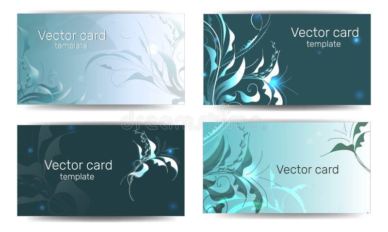 Шаблон визитных карточек в зеленом цвете с элементом дизайна Рамка текста Элементы веб-дизайна иллюстрация вектора
