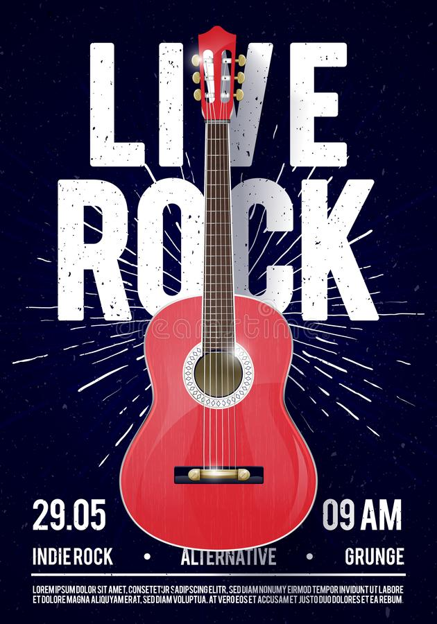 Шаблон в реальном маштабе времени плаката рок-музыки иллюстрации вектора красивый классический Для продвижения концерта в клубах, иллюстрация вектора