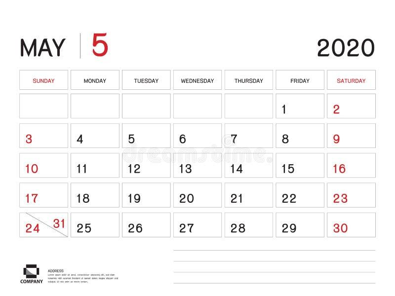 Шаблон года АПРЕЛЯ 2020, вектор 2020, дизайн настольного календаря, начало календаря недели в воскресенье, плановике, канцелярски бесплатная иллюстрация