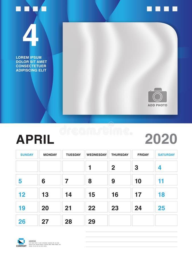 Шаблон года АПРЕЛЯ 2020, вектор 2020, дизайн настольного календаря, начало календаря недели в воскресенье, плановике, канцелярски иллюстрация штока
