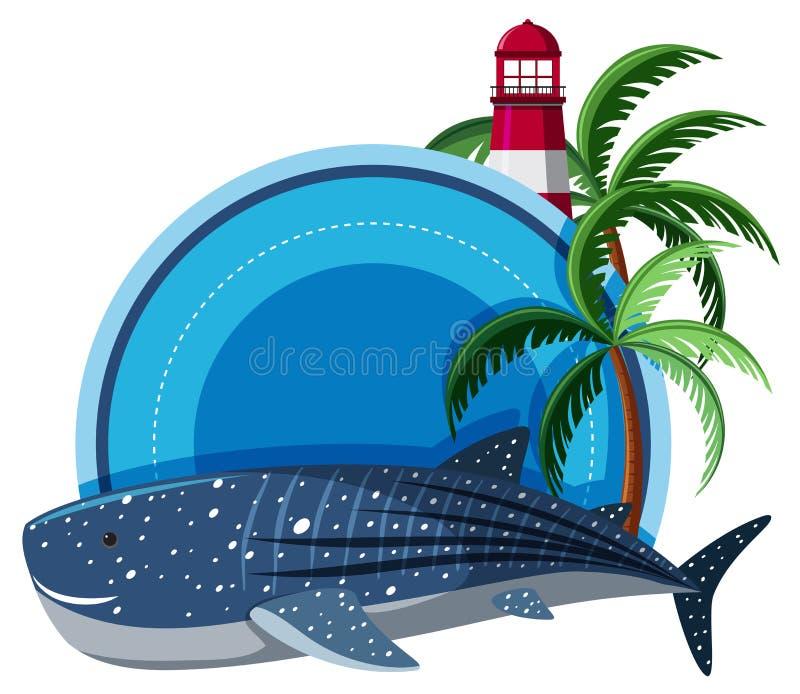 Шаблон границы с китовой акулой и маяком иллюстрация вектора