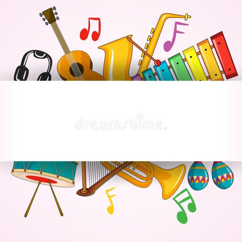 Шаблон границы с музыкальным инструментом иллюстрация вектора