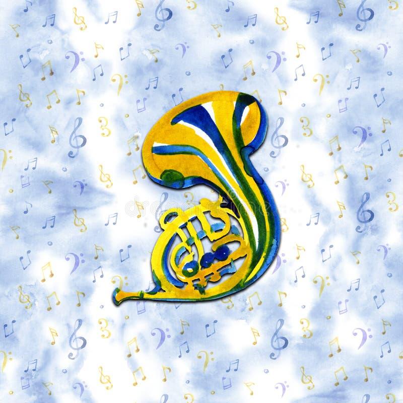 Шаблон графика музыкальных инструментов французский рожочок Иллюстрация акварели на голубой предпосылке иллюстрация вектора