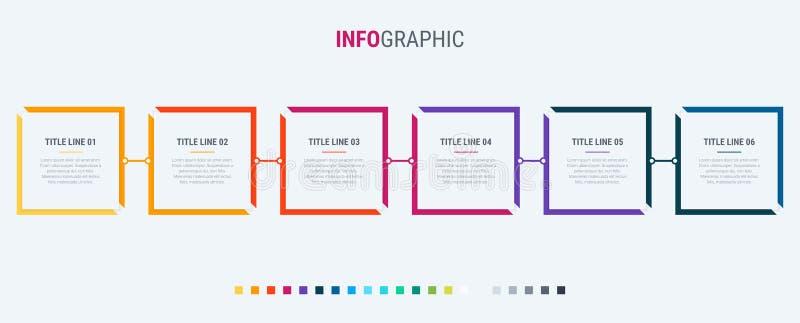 Шаблон дела конспекта прямоугольный infographic с 6 шагами Красочные диаграмма, срок и расписание изолированная на светлом backgr иллюстрация штока