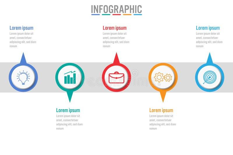 Шаблон дела infographic с 5 вариантами, абстрактными элементами иллюстрация штока