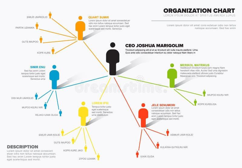 Шаблон диаграммы схемы иерархии организации компании иллюстрация вектора