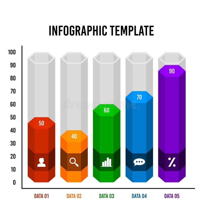 Шаблон дизайна бара диаграммы куба шестиугольника infographic иллюстрация штока