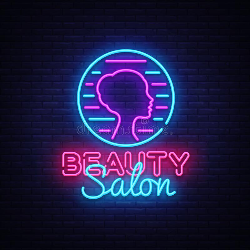 Шаблон дизайна вектора знака салона красоты Логотип салона красоты неоновый, дизайн светлого элемента дизайна знамени красочный с иллюстрация вектора