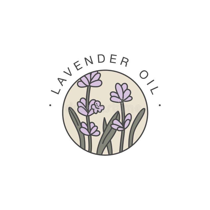 Шаблон дизайна вектора и эмблема - здоровые и масло косметик Лаванда естественная, органическое масло Красочный логотип в ультрам иллюстрация штока