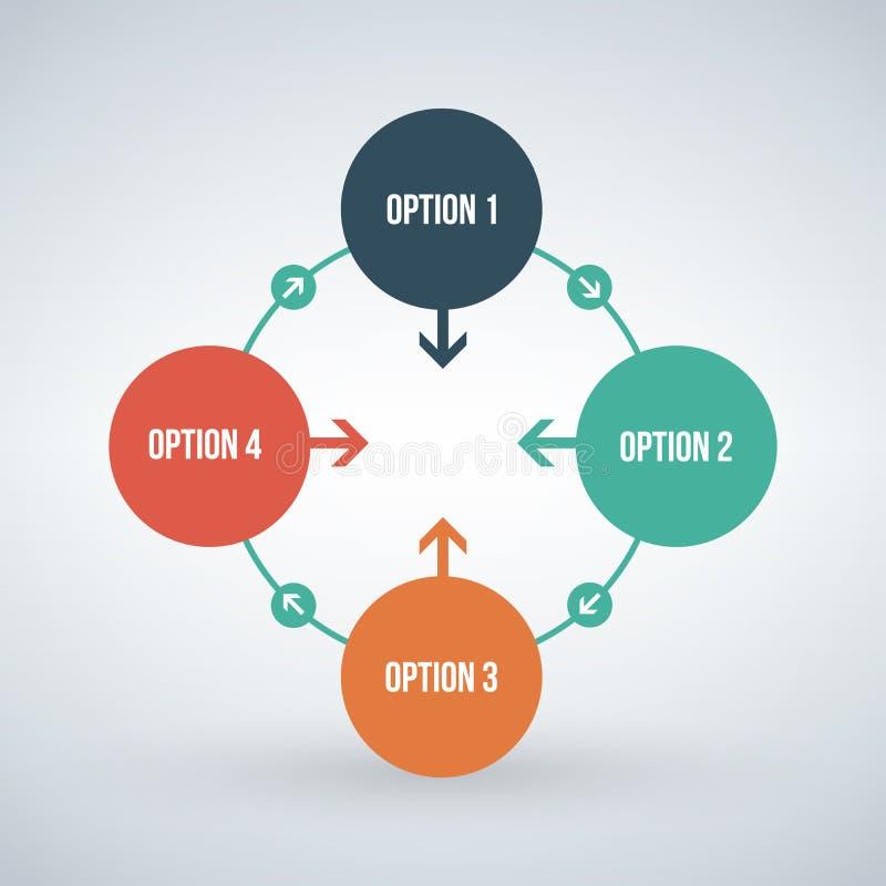 Шаблон дизайна вектора infographic Концепция дела с 4 вариантами, частями, шагами или процессами Смогите быть использовано для пл иллюстрация штока