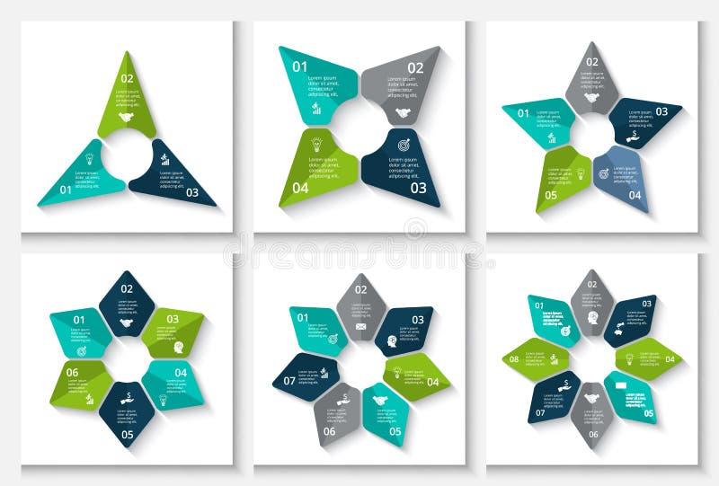 Шаблон дизайна вектора infographic Концепция дела с 3, 4, 5, 6, 7 и 8 вариантами, частями, шагами или процессами бесплатная иллюстрация