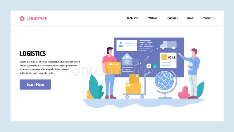 Шаблон дизайна градиента вебсайта вектора Обслуживание отслеживать и доставки Доставка пакета Концепции страницы посадки для иллюстрация штока