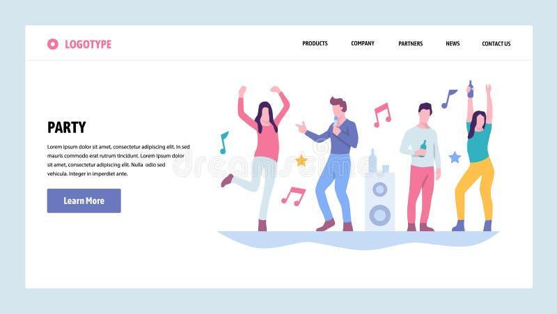 Шаблон дизайна градиента вебсайта вектора Танцы людей в ночном клубе Партия студента колледжа Концепции страницы посадки для бесплатная иллюстрация