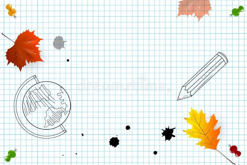 Шаблон дизайна для знамени, плаката задняя школа к также вектор иллюстрации притяжки corel бесплатная иллюстрация