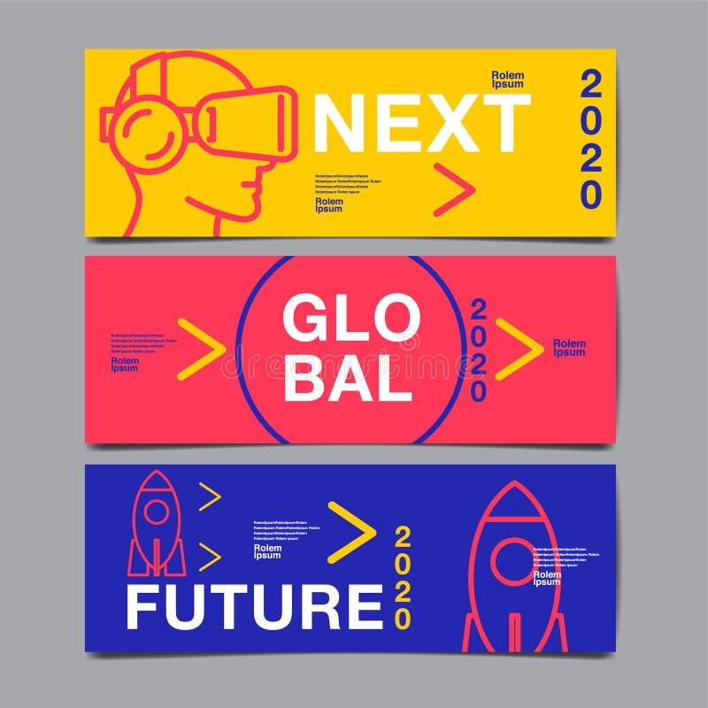 Шаблон дизайна знамени, будущее, дело, дизайн плана шаблона, книга крышки вектор красочный, infographic иллюстрация штока