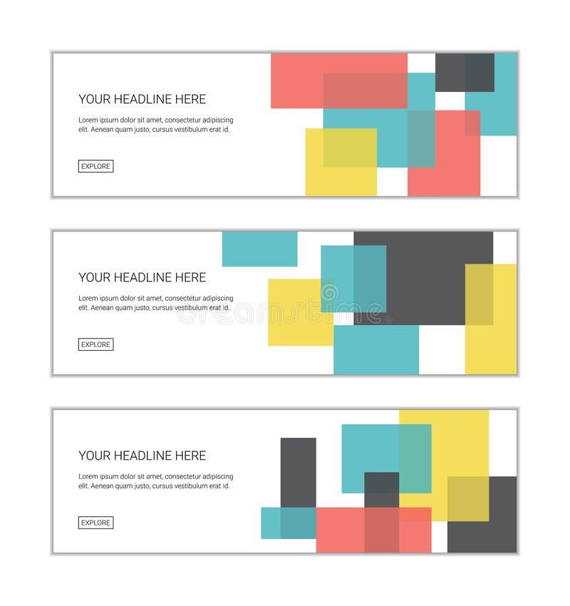Шаблон дизайна знамени сети установил состоять из абстрактных картин предпосылки сделанных с органическими, геометрическими форма иллюстрация вектора