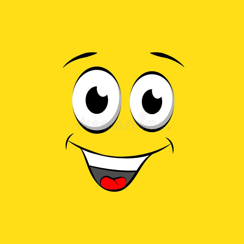 Шаблон дизайна значка улыбки Логотип смайлика вектора усмехаясь на желтой предпосылке иллюстрация штока
