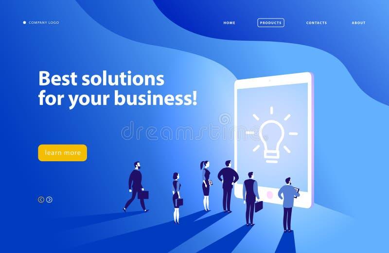 Шаблон дизайна интернет-страницы вектора - сложное решение дела, поддержка проекта, онлайн советует с, современная технология, об иллюстрация вектора