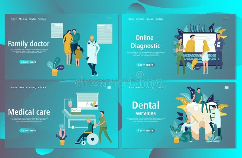 Шаблон дизайна интернет-страницы для онлайн медицинского обеспечения, зубоврачебных обслуживаний иллюстрация штока
