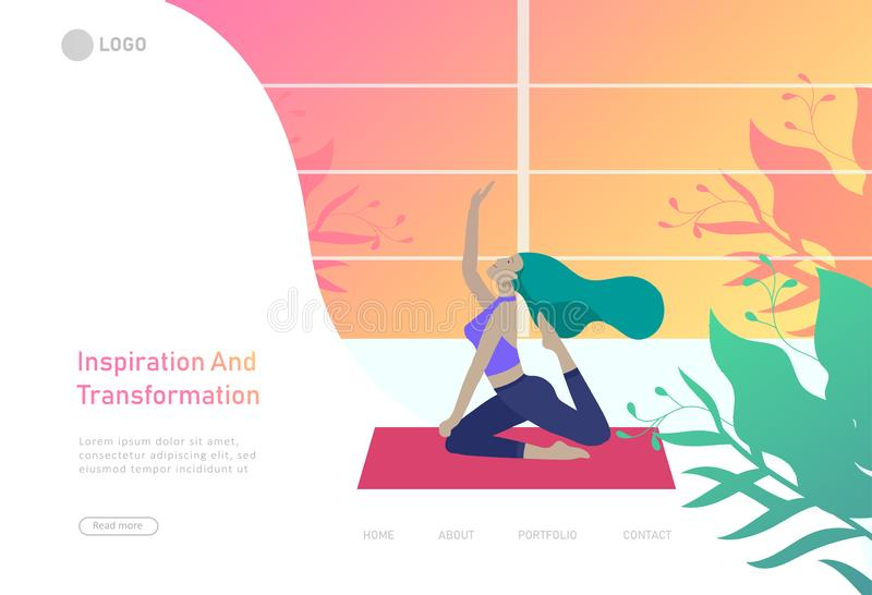 Шаблон дизайна интернет-страницы с человеком и женщина размышляют, сидящ в позиции йоги дома и на на открытом воздухе Йога практи иллюстрация вектора