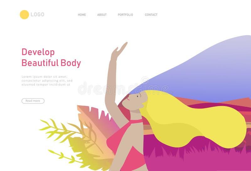 Шаблон дизайна интернет-страницы с человеком и женщина размышляют, сидящ в позиции йоги дома и на на открытом воздухе Йога практи бесплатная иллюстрация