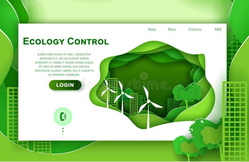 Шаблон дизайна искусства бумаги вебсайта вектора для концепции города eco Зеленый городок с турбинами энергии ветра Страница поса иллюстрация штока