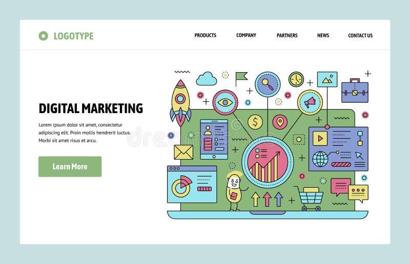 Шаблон дизайна искусства вебсайта вектора линейный Аналитик маркетинга и seo цифров Содержимый маркетинг, изучение рыночной конъю иллюстрация вектора